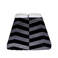 Chevron2 Black Marble & Gray Colored Pencil Fitted Sheet (full/ Double Size) by trendistuff