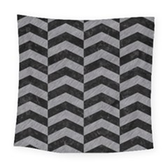 Chevron2 Black Marble & Gray Colored Pencil Square Tapestry (large) by trendistuff