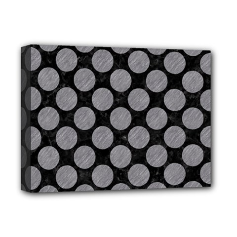 Circles2 Black Marble & Gray Colored Pencil Deluxe Canvas 16  X 12   by trendistuff