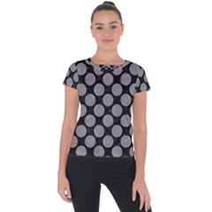 Circles2 Black Marble & Gray Colored Pencil Short Sleeve Sports Top  by trendistuff