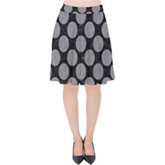 Circles2 Black Marble & Gray Colored Pencil Velvet High Waist Skirt