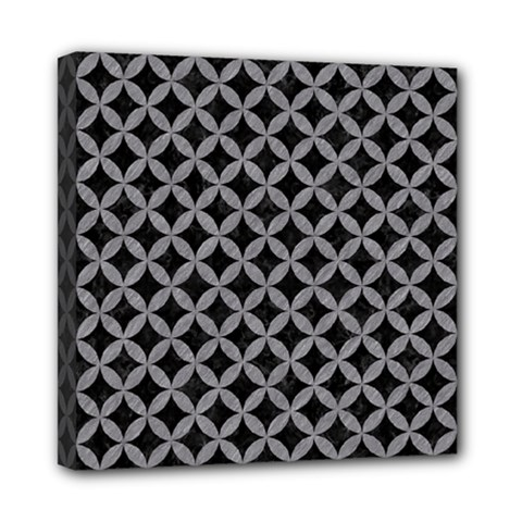 Circles3 Black Marble & Gray Colored Pencil Mini Canvas 8  X 8  by trendistuff