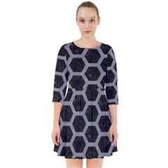 Hexagon2 Black Marble & Gray Colored Pencil Smock Dress by trendistuff