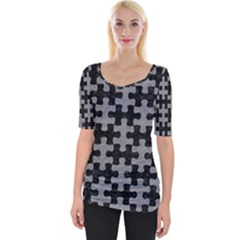 Puzzle1 Black Marble & Gray Colored Pencil Wide Neckline Tee by trendistuff