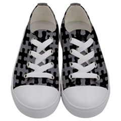 Puzzle1 Black Marble & Gray Colored Pencil Kids  Low Top Canvas Sneakers