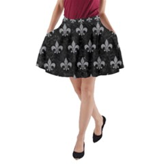 Royal1 Black Marble & Gray Colored Pencil (r) A Line Pocket Skirt