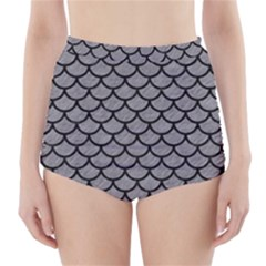 Scales1 Black Marble & Gray Colored Pencil (r) High Waisted Bikini Bottoms