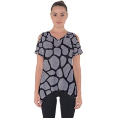 Skin1 Black Marble & Gray Colored Pencil Cut Out Side Drop Tee