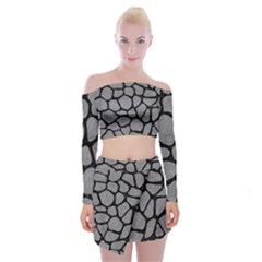 Skin1 Black Marble & Gray Colored Pencil Off Shoulder Top With Skirt Set by trendistuff