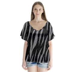 Skin3 Black Marble & Gray Colored Pencil V Neck Flutter Sleeve Top