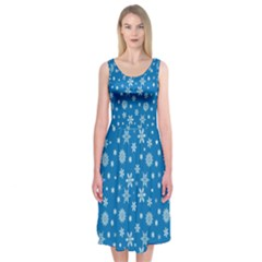 Xmas Pattern Midi Sleeveless Dress