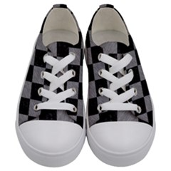 Square1 Black Marble & Gray Colored Pencil Kids  Low Top Canvas Sneakers