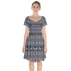 Xmas Pattern Short Sleeve Bardot Dress