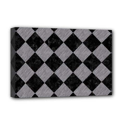 Square2 Black Marble & Gray Colored Pencil Deluxe Canvas 18  X 12   by trendistuff