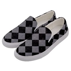 Square2 Black Marble & Gray Colored Pencil Men s Canvas Slip Ons by trendistuff