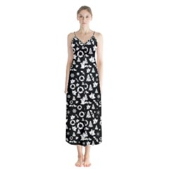 Xmas Pattern Button Up Chiffon Maxi Dress
