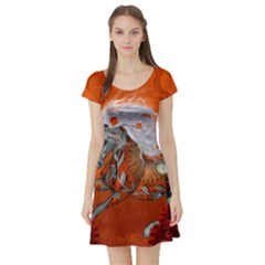 Steampunk, Wonderful Wild Steampunk Horse Short Sleeve Skater Dress by FantasyWorld7