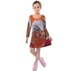 Steampunk, Wonderful Wild Steampunk Horse Kids  Long Sleeve Velvet Dress by FantasyWorld7