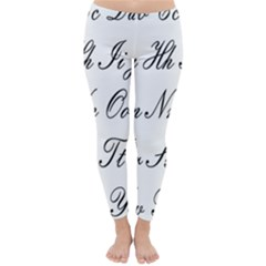 Alphabet Embassy Font Classic Winter Leggings by Mariart