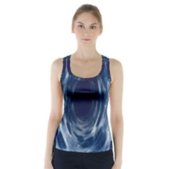 Worm Hole Line Space Blue Racer Back Sports Top