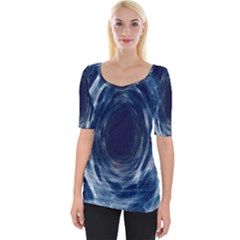 Worm Hole Line Space Blue Wide Neckline Tee by Mariart