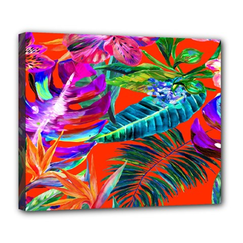 Aloha Hawaiian Flower Floral Sexy Summer Orange Deluxe Canvas 24  X 20   by Mariart