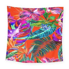 Aloha Hawaiian Flower Floral Sexy Summer Orange Square Tapestry (large) by Mariart