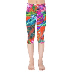 Aloha Hawaiian Flower Floral Sexy Summer Orange Kids  Capri Leggings  by Mariart