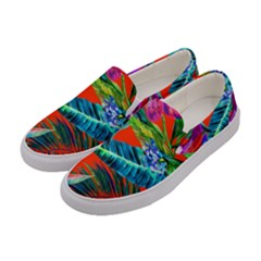 Aloha Hawaiian Flower Floral Sexy Summer Orange Women s Canvas Slip Ons by Mariart