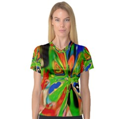Acrobat Wormhole Transmitter Monument Socialist Reality Rainbow V Neck Sport Mesh Tee by Mariart