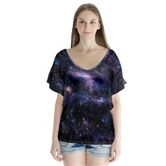 Animation Plasma Ball Going Hot Explode Bigbang Supernova Stars Shining Light Space Universe Zooming V Neck Flutter Sleeve Top