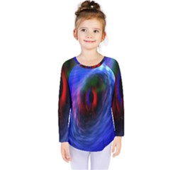 Black Hole Blue Space Galaxy Kids  Long Sleeve Tee