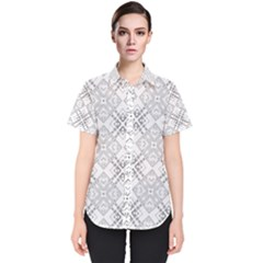 Background Pattern Diagonal Plaid Black Line Women s Short Sleeve Shirt by Mariart