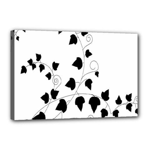 Black Leaf Canvas 18  X 12  by Mariart