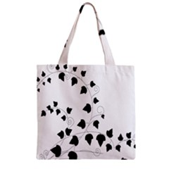 Black Leaf Zipper Grocery Tote Bag by Mariart