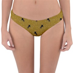 Unicorn Pattern Golden Reversible Hipster Bikini Bottoms