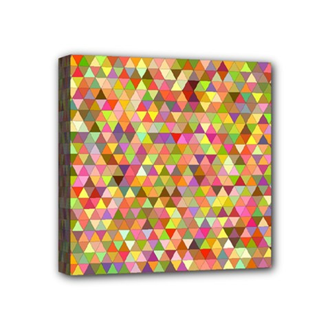 Multicolored Mixcolor Geometric Pattern Mini Canvas 4  X 4  by paulaoliveiradesign