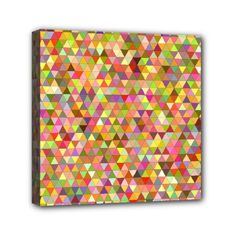 Multicolored Mixcolor Geometric Pattern Mini Canvas 6  X 6  by paulaoliveiradesign