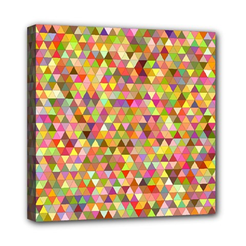 Multicolored Mixcolor Geometric Pattern Mini Canvas 8  X 8  by paulaoliveiradesign