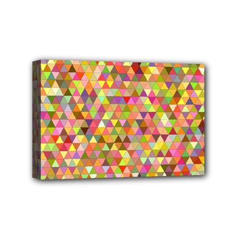 Multicolored Mixcolor Geometric Pattern Mini Canvas 6  X 4  by paulaoliveiradesign