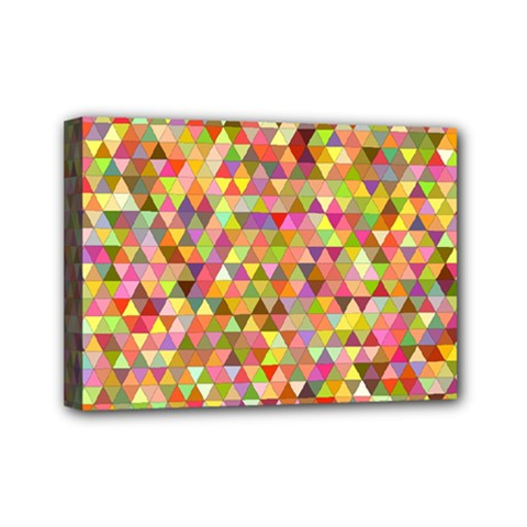 Multicolored Mixcolor Geometric Pattern Mini Canvas 7  X 5  by paulaoliveiradesign