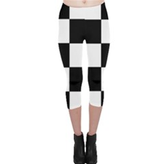 Grid Domino Bank And Black Capri Leggings  by Nexatart