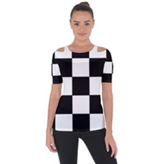 Grid Domino Bank And Black Short Sleeve Top by Nexatart