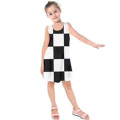 Grid Domino Bank And Black Kids  Sleeveless Dress by Nexatart