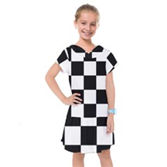 Grid Domino Bank And Black Kids  Drop Waist Dress by Nexatart