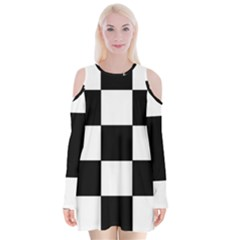 Grid Domino Bank And Black Velvet Long Sleeve Shoulder Cutout Dress by Nexatart