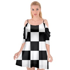 Grid Domino Bank And Black Cutout Spaghetti Strap Chiffon Dress by Nexatart
