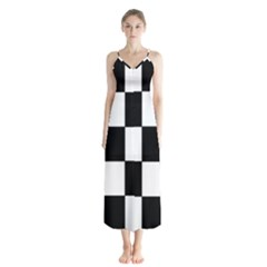 Grid Domino Bank And Black Button Up Chiffon Maxi Dress by Nexatart