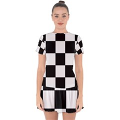 Grid Domino Bank And Black Drop Hem Mini Chiffon Dress by Nexatart