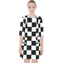Grid Domino Bank And Black Pocket Dress by Nexatart